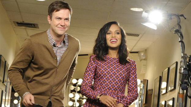 Scandal star Kerry Washington, right, does a promotional shoot with Saturday Night Live cast member Taran Killam. Washington is hosting the late night comedy sketch series Saturday night. (NBC Handout via AP)
