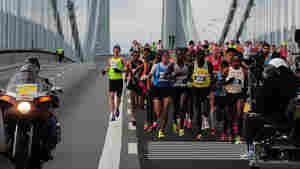 Runners cross the Verrazano Bridge as they race in the New York City Marathon on Sunday.