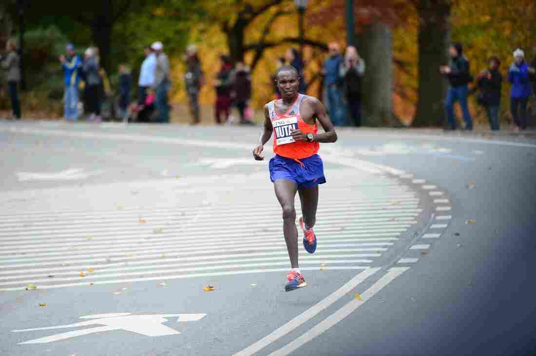 Geoffrey Mutai of Kenya leads the New York City Marathon on Sunday.