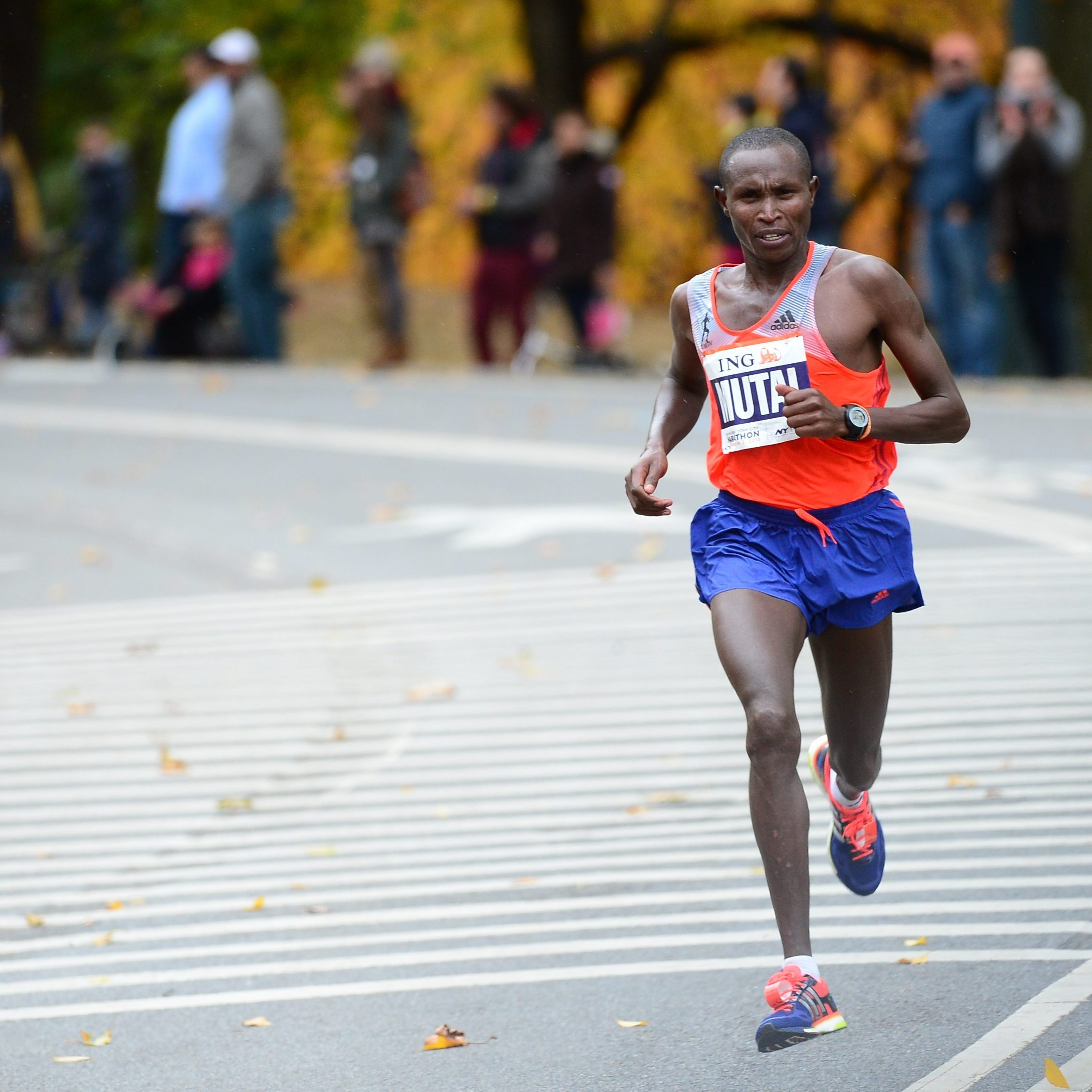 Geoffrey Mutai of Kenya leads the New York City Marathon on Sunday.