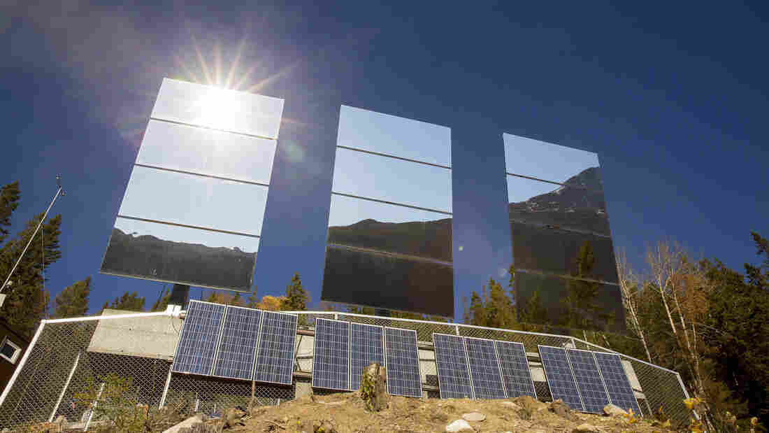 Mirrors erected on a Norwegian mountainside reflect sunlight onto the town below, which is cut off from direct sunlight for about six months a year.
