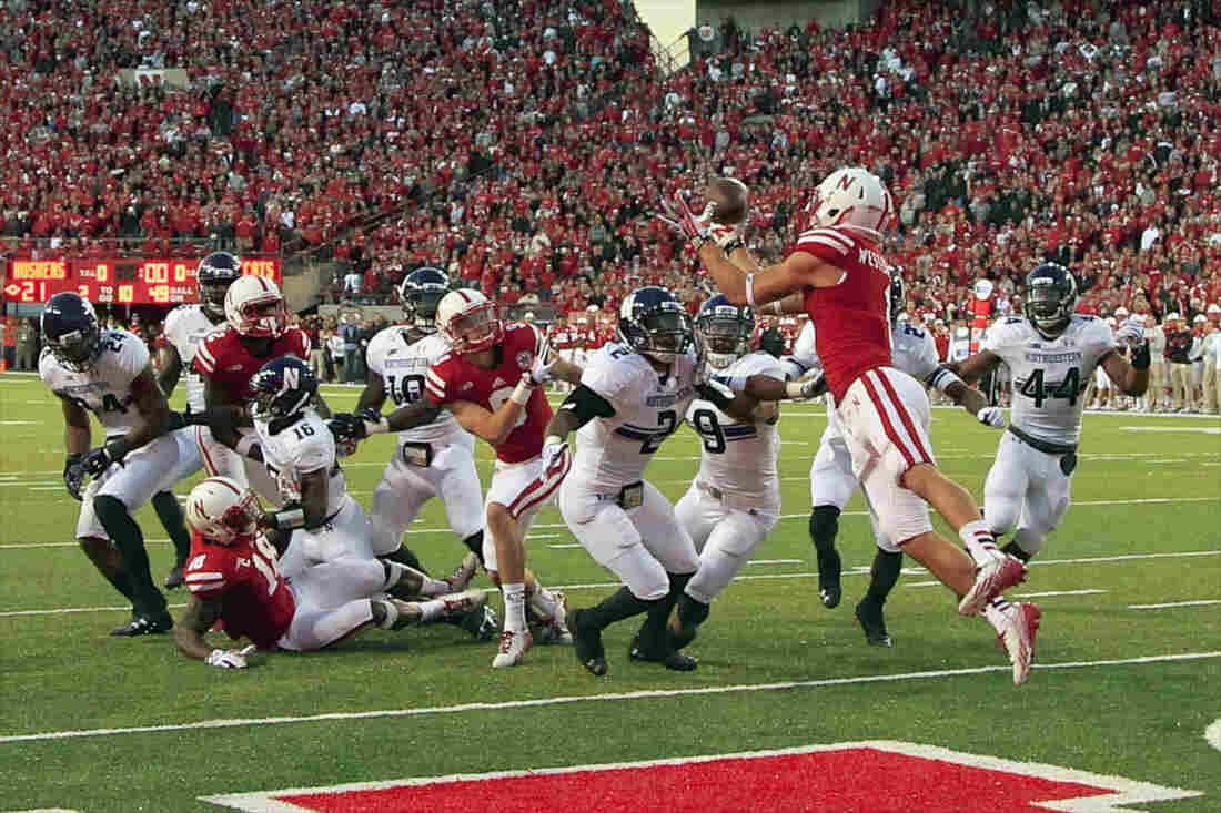Nebraska wide receiver Jordan Westerkamp catches the game winning touchdown.