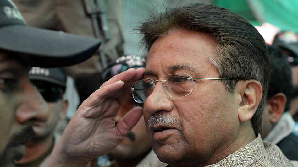 Former Pakistani President Pervez Musharraf at a court hearing in April. On Monday he was granted bail in a separate case related to a 2007 military operation that forced militants from a mosque.