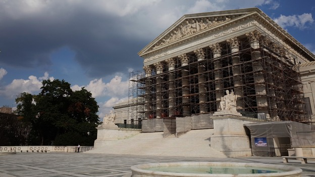 The U.S. Supreme Court is set to hear arguments in a case that challenges the court's most famous treaty decision, written in 1920 by Justice Oliver Wendell Holmes. (AFP/Getty Images)