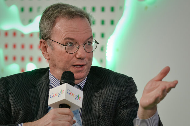 Executive Chairman of Google Eric Schmidt speaks at the Chinese University in Hong Kong on Monday.