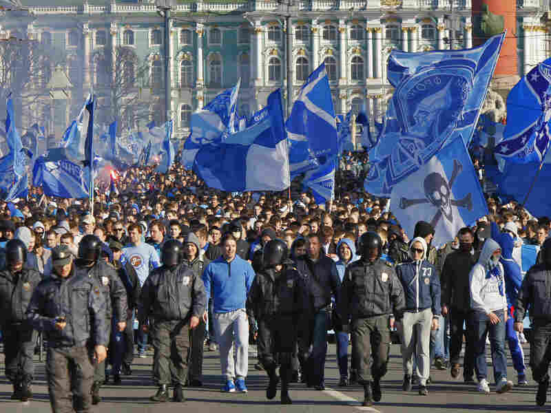 Fans of the Zenit soccer team march in St. Petersburg, Russia, in April 2012. The fans were calling for nonwhite and gay players to be excluded from the team.