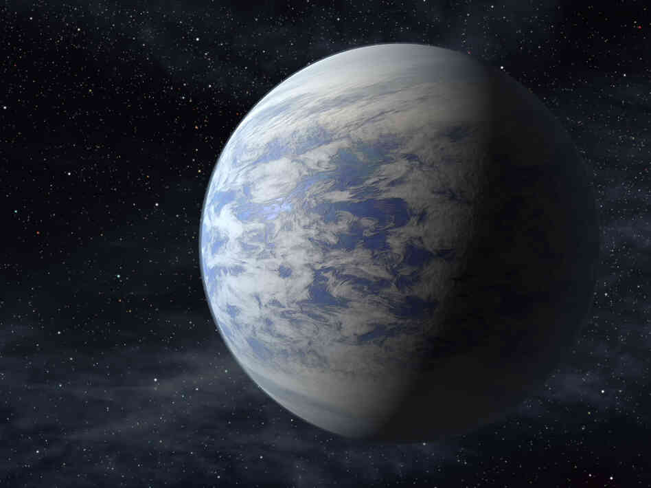 An artist's rendition of Kepler-69c, a super-Earth-size planet in the habitable zone of a star like our sun, located about 2,700 light-years from Earth in the constellation Cygnus.