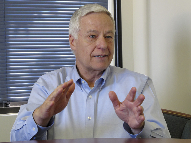 Rep. Mike Michaud talks to an Associated Press reporter Monday in Portland, Maine, about his public announcement that he is gay.