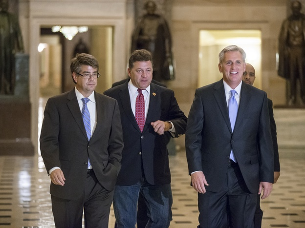 From left, Rep. Lee Terry, R-Neb., Rep. Bill Shuster, R-Pa., and House Majority Whip Kevin McCarthy, R-Calif., walk to the floor of the House for the final series of votes on a bill to fund the government, in Washington on Sept. 28.