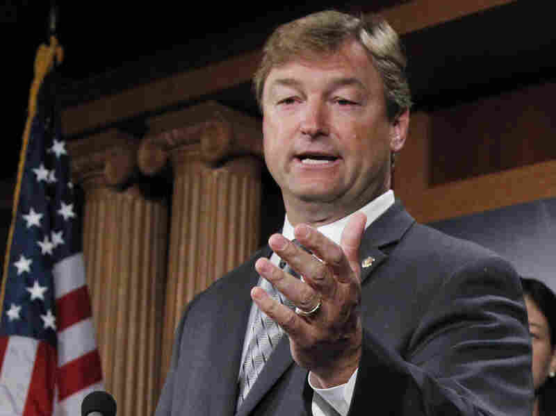 Sen. Dean Heller, R-Nev., at a 2011 news conference on Capitol Hill. On Monday, Heller announced his support for the Employment Non-Discrimination Act.