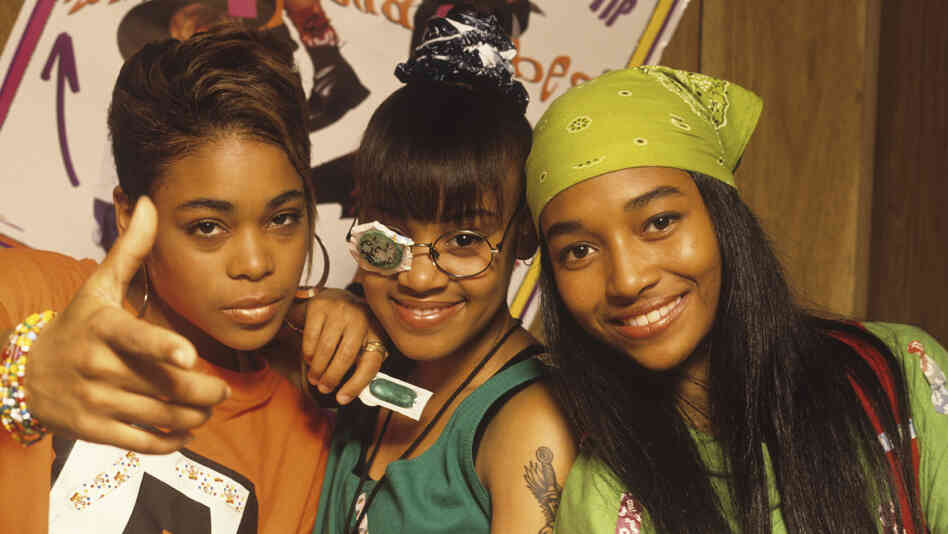 The real TLC (from left to right, Tionne 'T-Boz' Watkins, Lisa 'Left Eye' Lopes and Rozonda 'Chilli' Thomas) in the early-'90s.