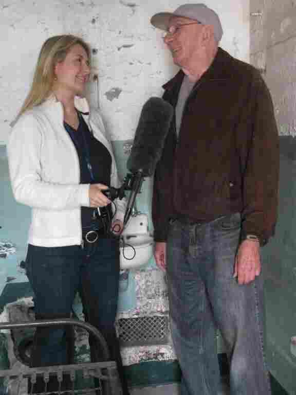 Laura Sullivan interviews Bill Baker in a cell at Alcatraz.