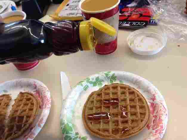"""I tried to spell out """"HELP"""" with syrup in the little squares, but there aren't enough pixels."""