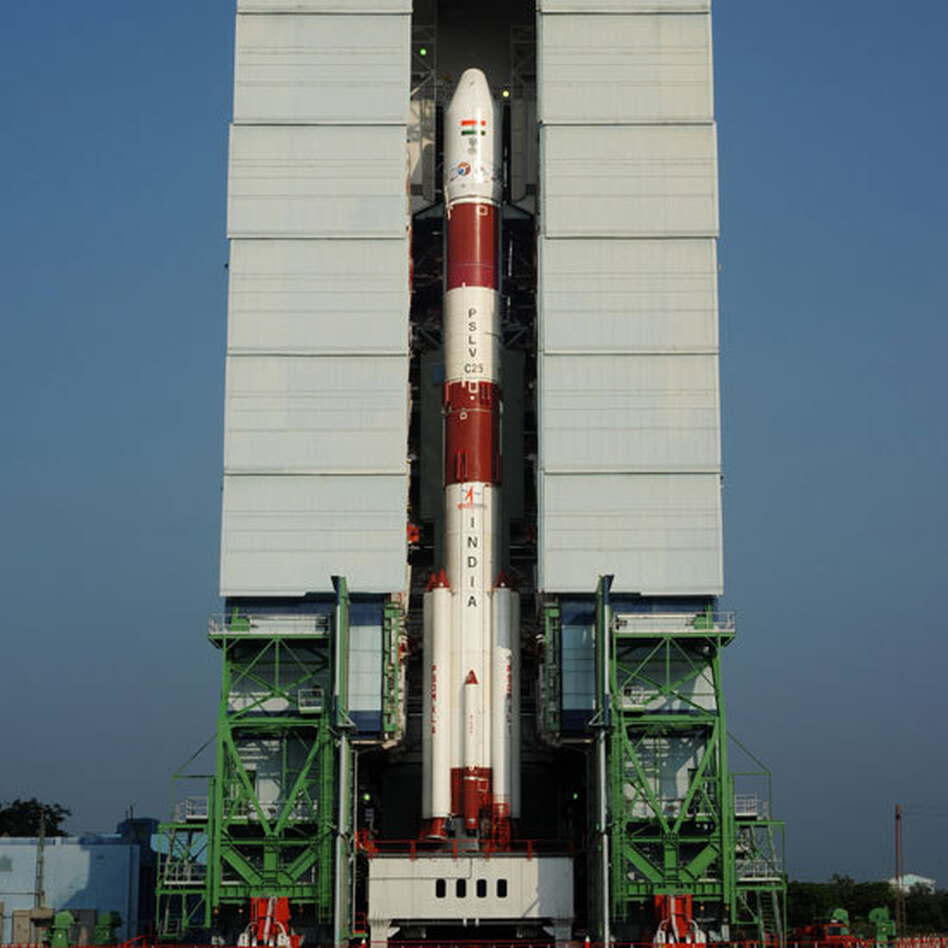 The PSLV-C25, with India's Mars orbiter aboard, prior to Tuesday's launch at the Satish Dhawan Space Centre in southern India. (Indian Space Research Organization (ISRO))