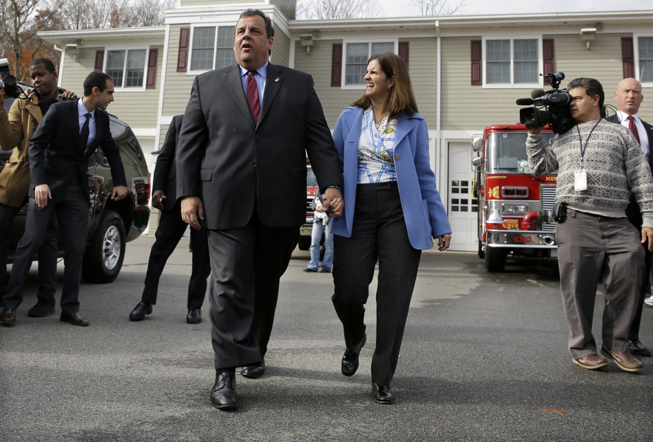 Republican New Jersey Gov. Chris Christie with wife, Mary Pat Christie, after they voted.