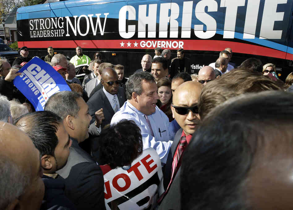 New Jersey Gov. Chris Christie greets supporters on the eve of the election in a race that looks like a launchpad for a 2016 presidential run.