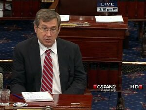 Sen. Mark Kirk, R-Ill., speaking from the floor of the Senate on Monday.