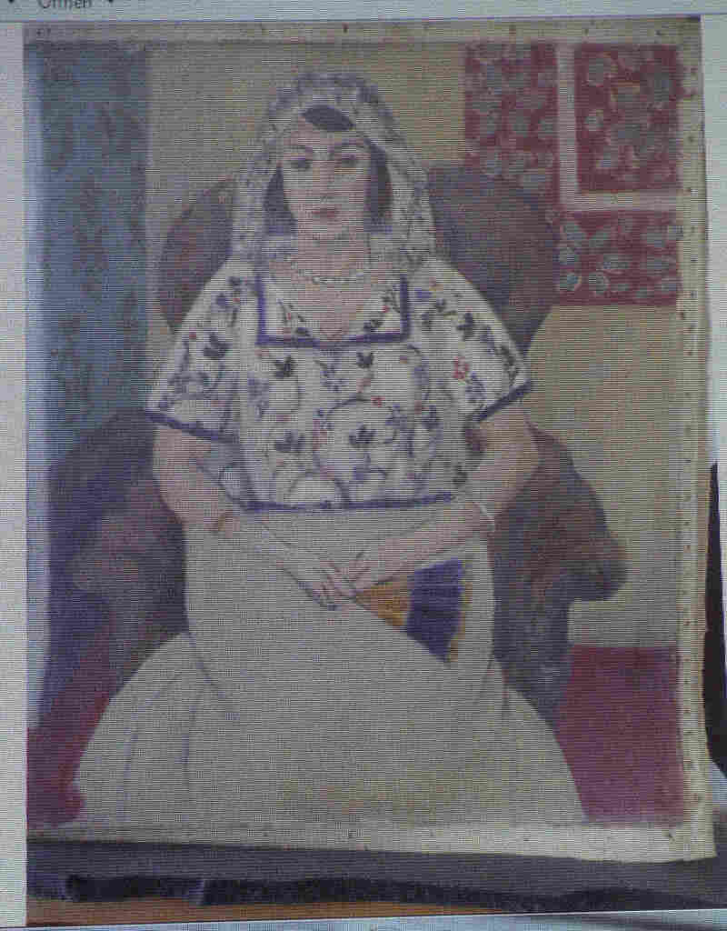 "A painting by Henry Matisse, Sitzende Frau (""Sitting Woman"")."