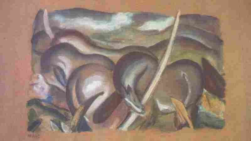 A painting by Franz Marc, Horses in Landscape.