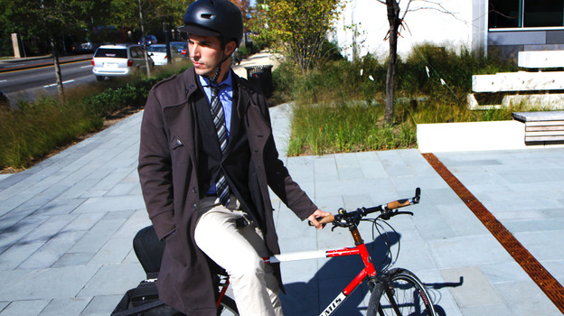 NPR's soon-to-be London correspondent Ari Shapiro on his trusty steed. (NPR)