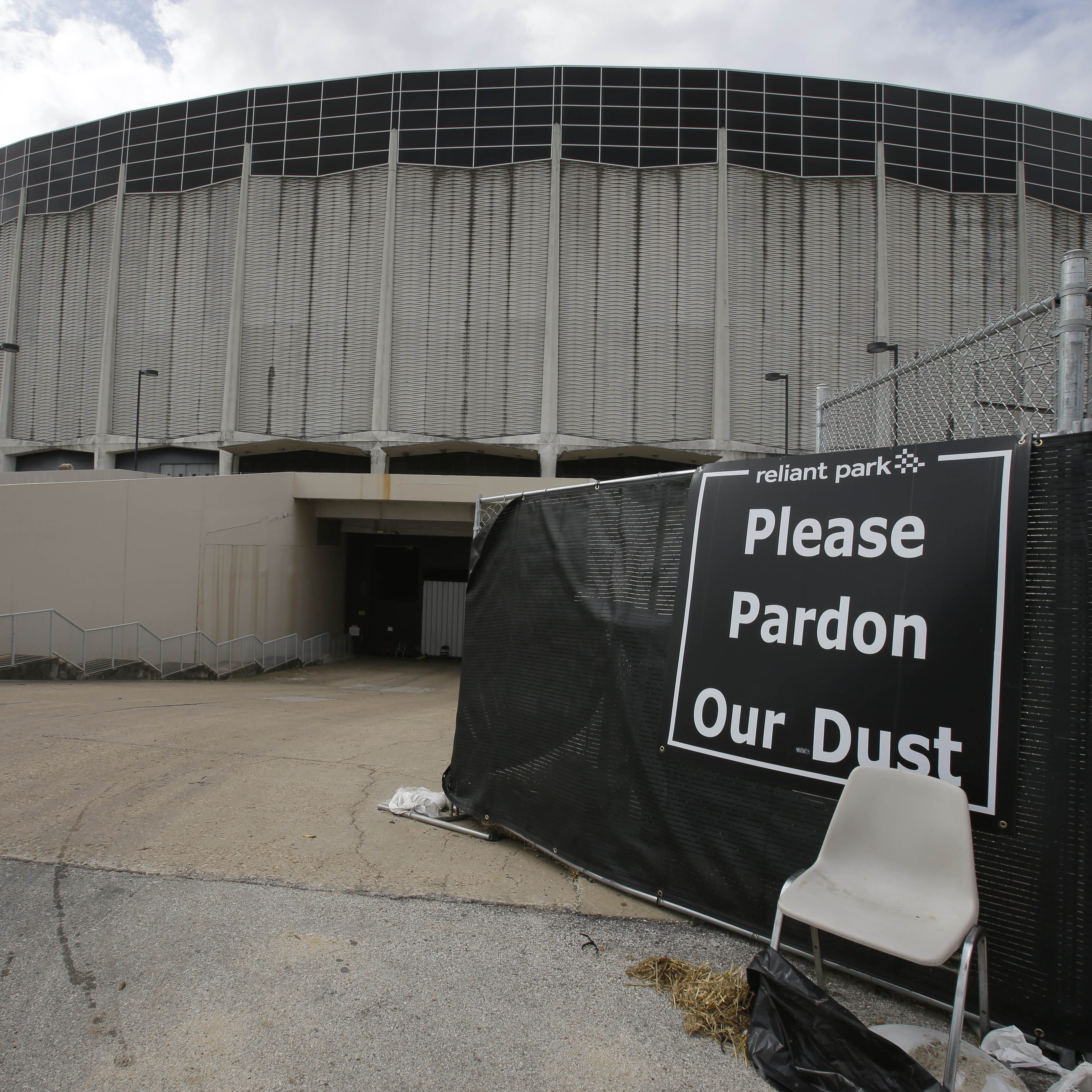 The sign tells the story: Houston's Astrodome on Tuesday.