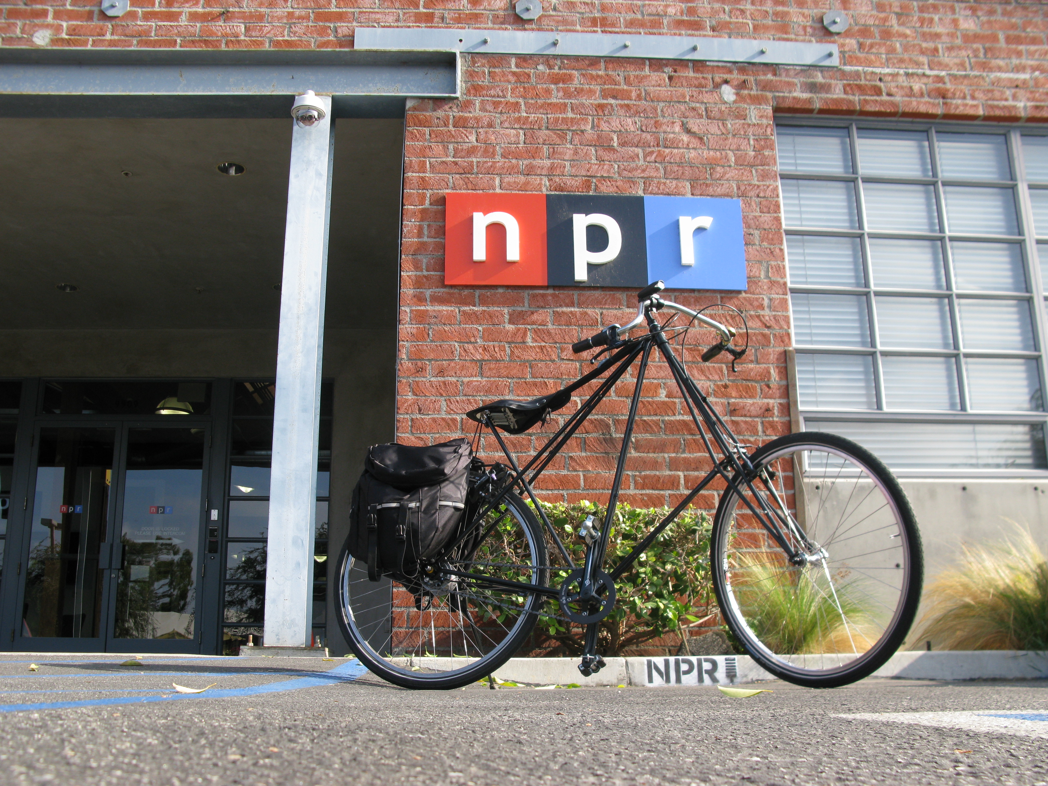 After lugging his Pedersen bike on the Los Angeles metro, NPR Broadcast and Recording Technician Patrick Murray, rides about one-and-a-half miles to reach NPR West in Culver City, Calif. Pedersen bikes allow their riders to sit up straighter than regular road bikes, and their hammock saddles reduce shock on bumpy roads.
