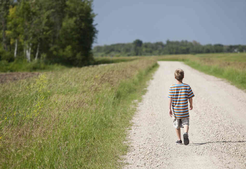 A young boy walks alone down a gravel road in the countryside.