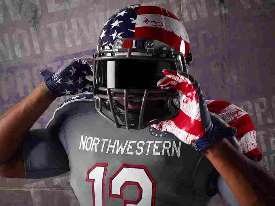 Part of the special design to be worn by Northwestern University football player