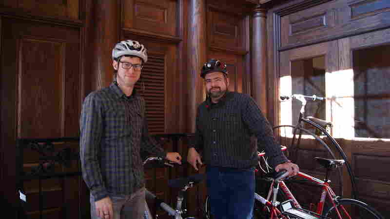 Rhode Island Public Radio staffers Aaron Read and James Baumgartner bike to work, even in the harsh New England winters.