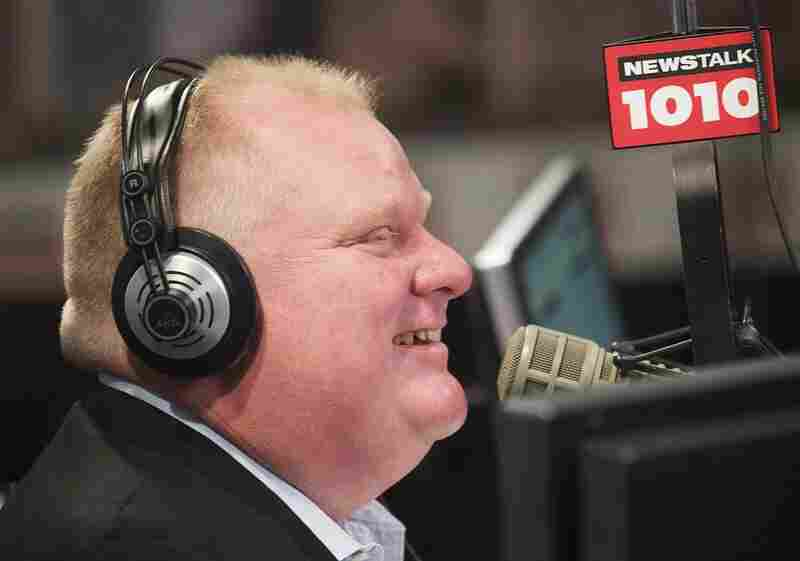 Toronto Mayor Rob Ford talks on his weekly radio show in Toronto, Sunday, Nov. 3, 2013.