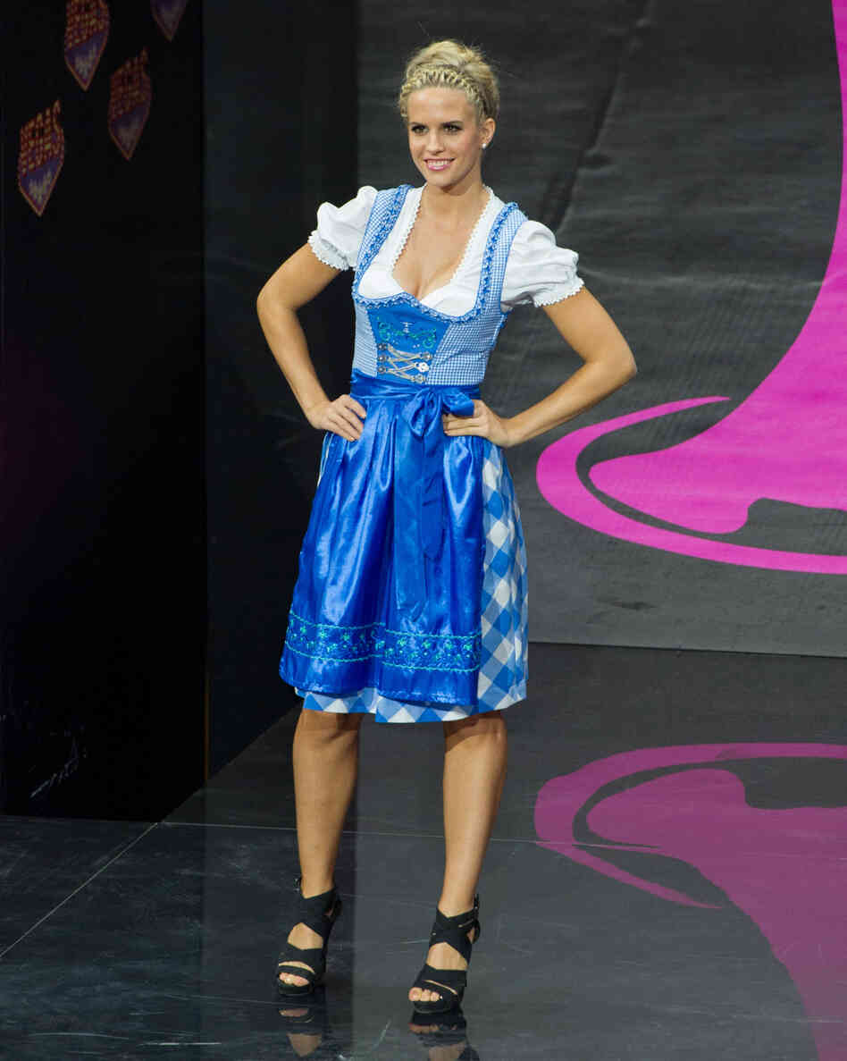 "This is the other way to go. Doris Hofmann, Miss Austria, looks a little bit like, ""Is this what you want? Well, IS IT?"""