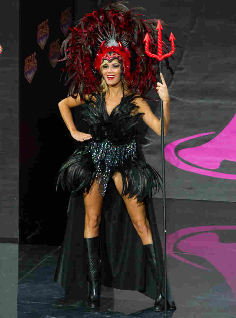 Noémie Happart of Belgium can use this outfit again when she plays the devil in Sexy Faust.