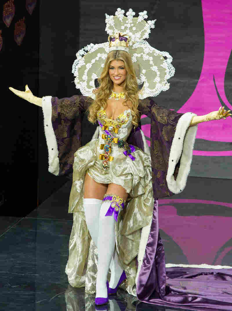Amy Willerton, Miss Great Britain, salutes the crown and also her great nation's glorious tradition of baby-doll thigh-highs.