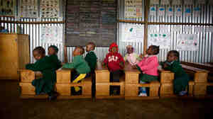 Young students in a Bridge International Academy school in Nairobi, in September. On the surface, there's little to distinguish these schools from others in the developing world. But Bridge's model relies on teachers reading lessons from tablets.