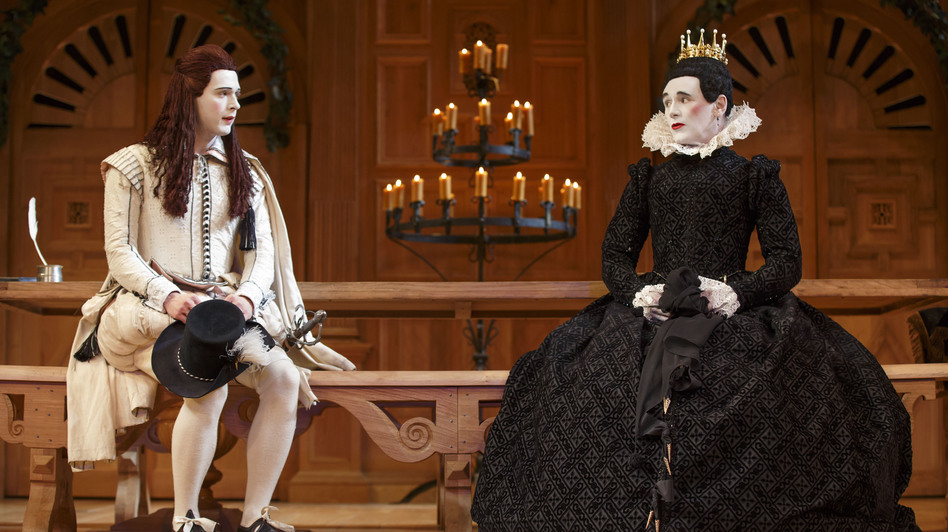 Mark Rylance as Olivia (right) and Samuel Barnett as Viola in <em>Twelfth Night</em>. The Broadway production, which first played at London's Globe Theatre, is done in the Elizabethan tradition, with an all-male cast. (Joan Marcus/ )