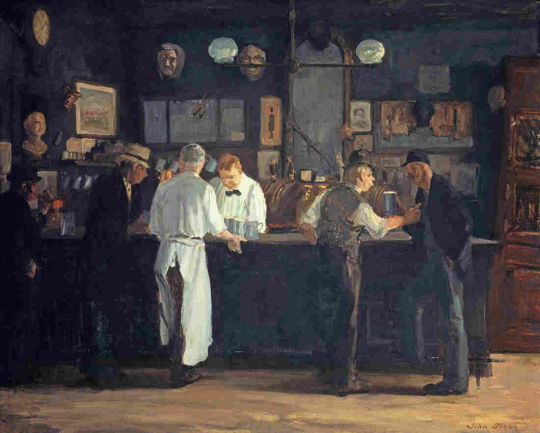 McSorley's Bar by American realist John Sloan  is a 1912 slice-of-New-York-life scene of relaxation and libation.