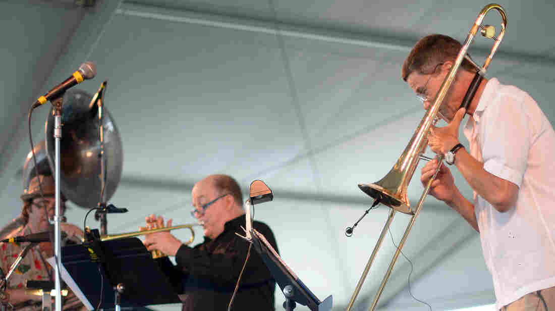 Ray Anderson (right) leads his scaled-down Pocket Brass Band at the 2013 Newport Jazz Festival.