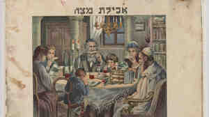 """This colorfully illustrated French and Hebrew Passover Haggadah was published in Vienna in 1930. Caption on the image: """"Eating Matzah."""" This restored document is part of an exhibit at the National Archives in Washington, D.C., that opens Nov. 8."""