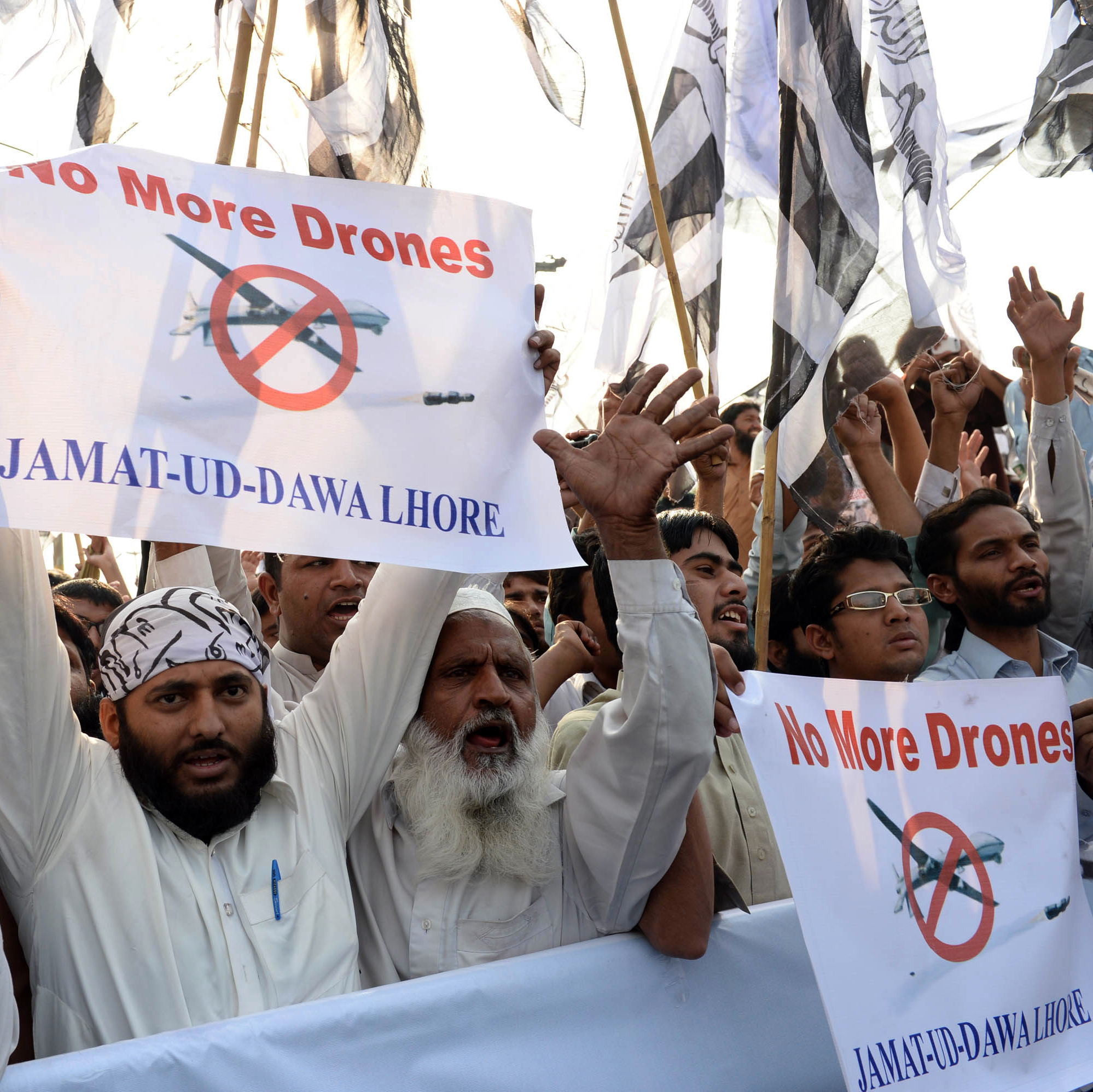 On Nov. 1, Pakistani activists in Lahore protest U.S. drone strikes. The strikes have become less frequent recently, but they remain extremely unpopular in Pakistan.