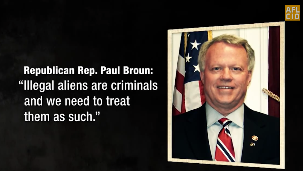 Screen shot of AFL-CIO TV ad targeting GOP House members on immigration.