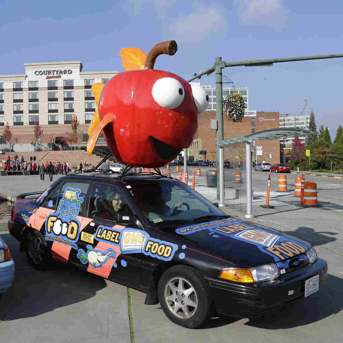 """Cars in Tacoma, Wash., promote a """"yes"""" vote on a ballot initiative that would have required genetically engineered foods to be labeled."""