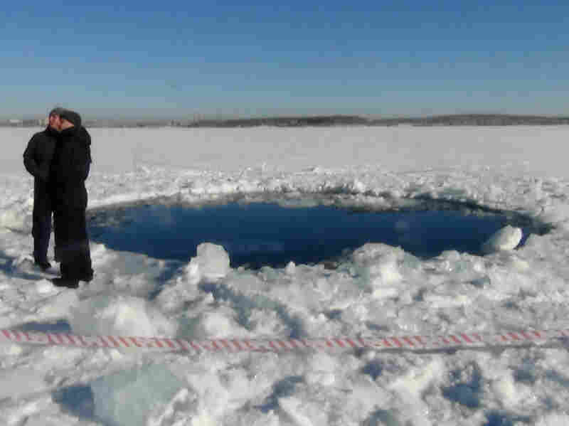 The largest fragment of the Chelyabinsk meteor punched a hole in the frozen surface of Lake Chebarkul. The 1,200-pound stone was recovered from the lake bed last month.