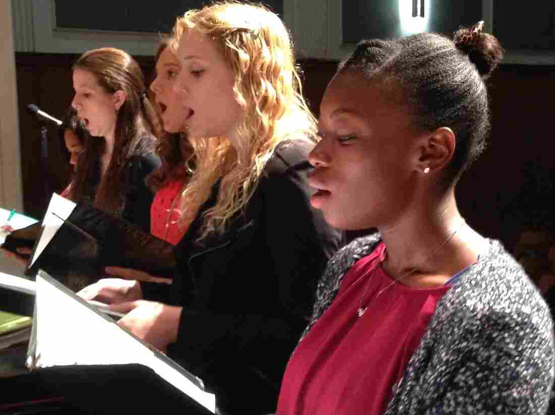 Soprano Nigia Hunt is a junior at Durham School of the Arts.  She and others are singing for Paul Kwami, auditioning for a solo in the Duke Performances concert.