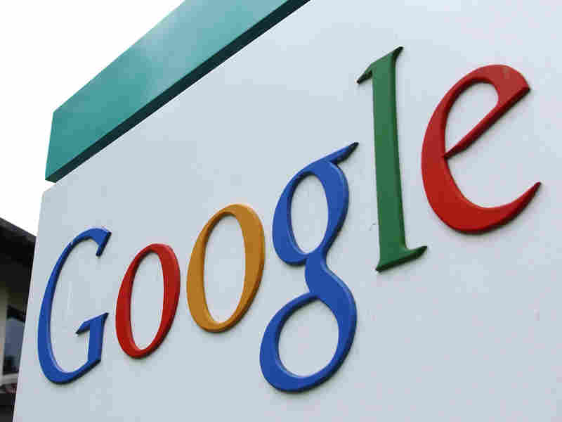 Google's logo is seen outside its headquarters building in Mountain View, Calif.