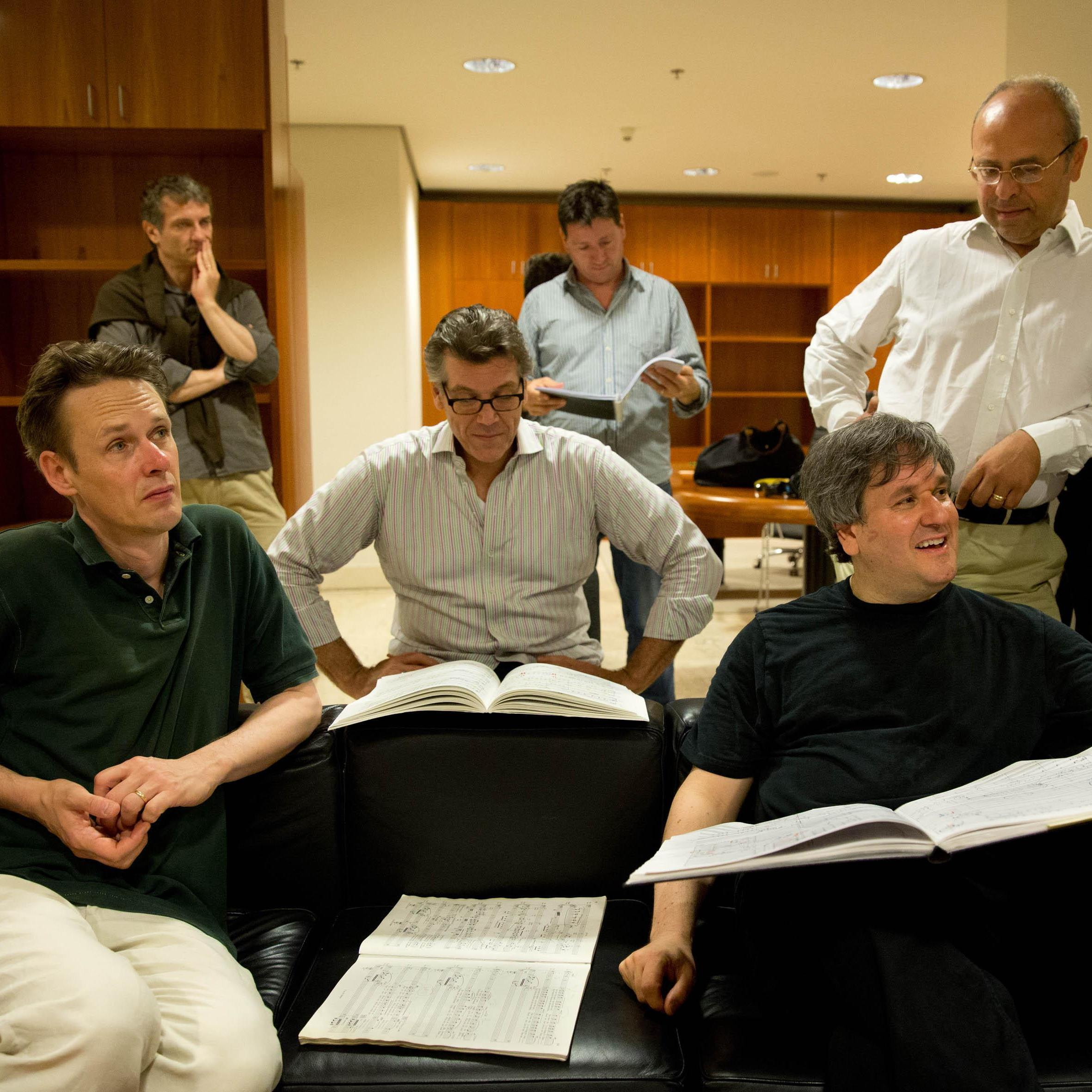 Soloists Ian Bostridge and Thomas Hampson (front left) with conductor Antonio Pappano (front right) and recording engineers (back).