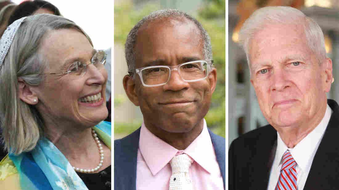 A composite image of Rabbi Nancy Fuchs Kreimer, Randall Kennedy and James Billington.