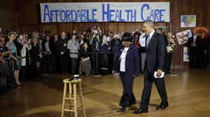 President Obama visited Dallas Wednesday partly to cheer up volunteers who help people enroll in Obamacare.