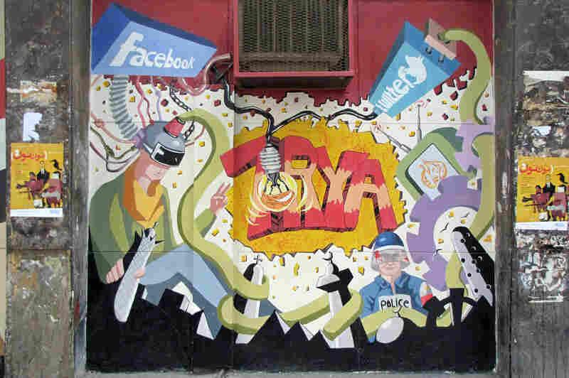 """""""Social Media Power Freedom,"""" mural in Cairo, Egypt, April 2011."""