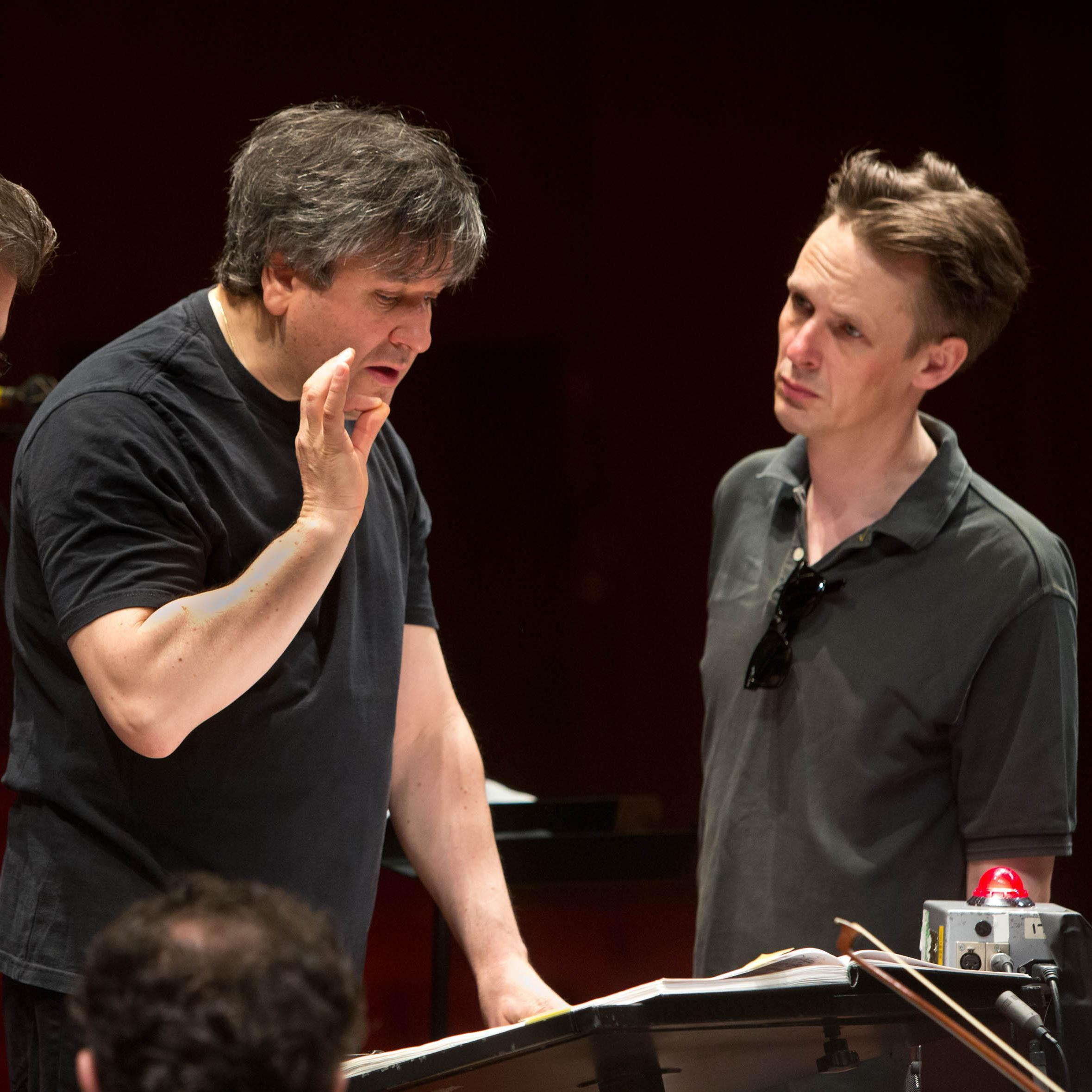 Baritone Thomas Hampson (left), conductor Antonio Pappano (center) and tenor Ian Bostridge pay tribute to composer Benjamin Britten in a new recording of the War Requiem, which comes out Nov. 19.