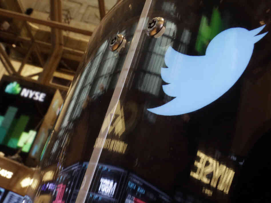 Will it fly? The Twitter bird logo was decorating a post on the floor of the New York Stock Exchange Wednesday.